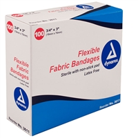 "Woven Adhesive Bandages - 3/4"" x 3"" - 100-Pack"