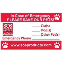 In Case of Emergency Pet Window Cling Decal