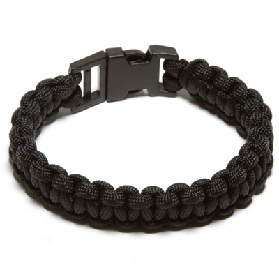 550 Paracord Survival Bracelet - Black Large