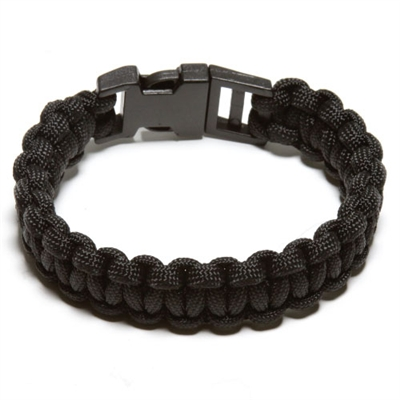 550 Paracord Survival Bracelet - Black Medium