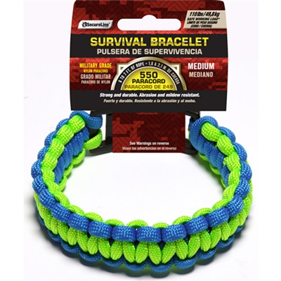 550 Paracord Survival Bracelet - Green/Blue Medium