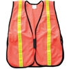 Fine Mesh Safety Vest with Stripes - Hi Vis Orange