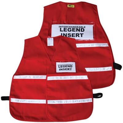 ICS Red Cloth Safety Vest with Reflective Stripes