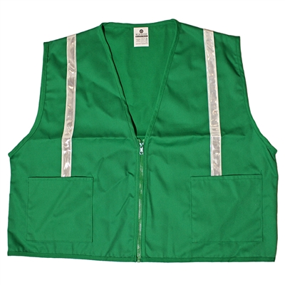 Green Cloth Fitted Vest with Stripes - 4XL