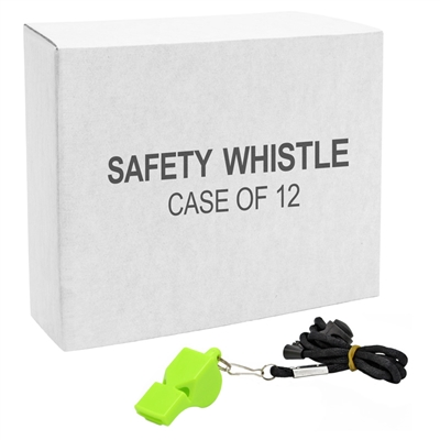 Plastic Safety Whistle Lime - 12-Pack