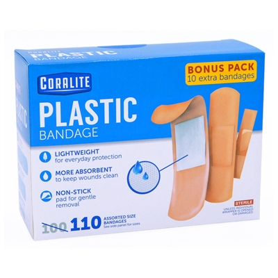 Plastic Adhesive Bandages - Assorted 100-Pack