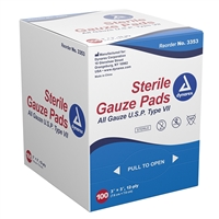 "Gauze Pads, Sterile - 3"" x 3"" - 100-Pack"