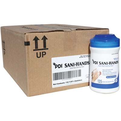 Sani-Hands Antimicrobial Hand Wipes - 135 Tub - Case of 12
