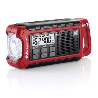 Compact Crank Radio with Flashlight, USB Charger & Weather Alert