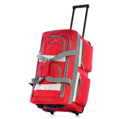 Red Duffel Bag with Wheels - 22""