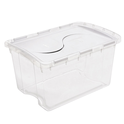 Storage Tote with Hinged Lid - 12 Gallon
